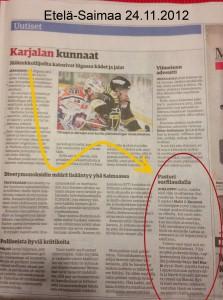 Karjalan kunnaat Etela-Saimaa 2012-11-24 artikkeli tabletin uudesta nimestä
