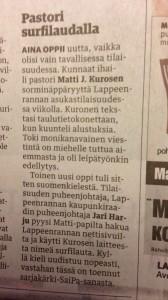 Karjalan kunnaat Pastorin surfilauta artikkeli 24.11.2012