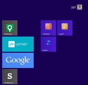 shutdown restart ja logoff Windows 8:n työpöydälle