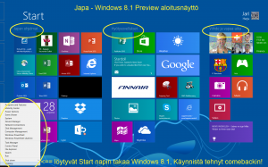 Japa - Windows 8.1 Preview aloitusnakyma