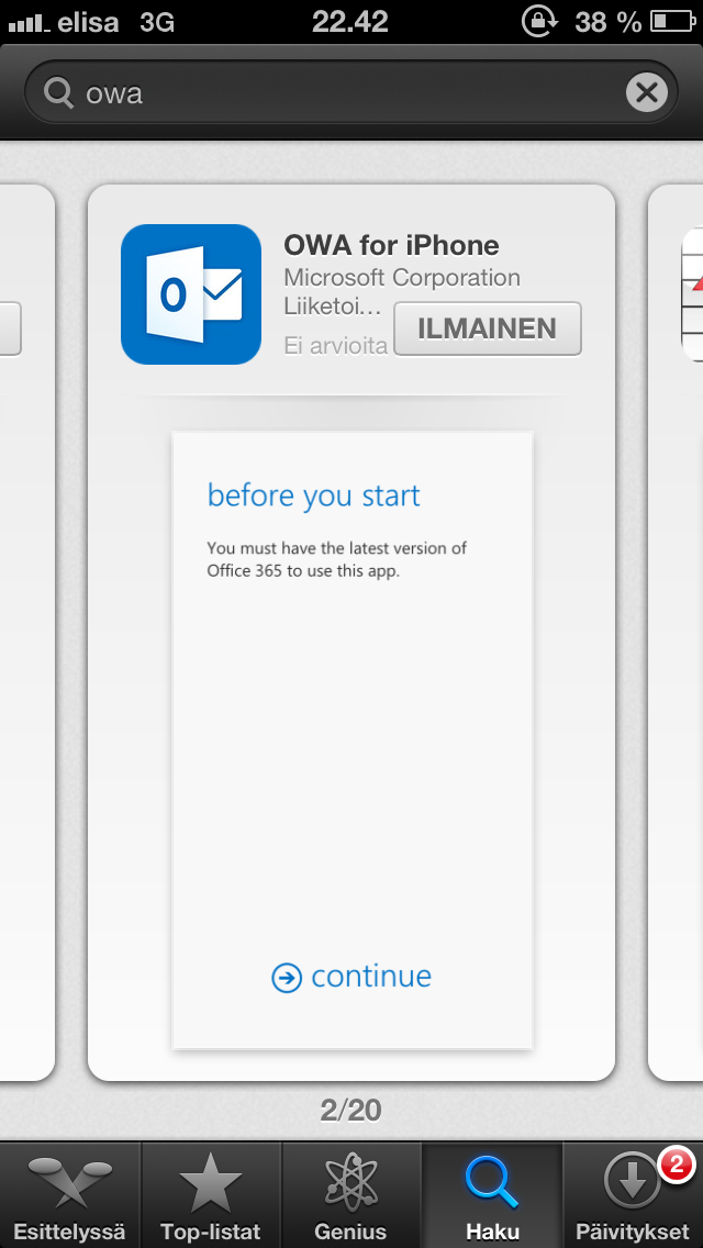 OWA for iPhone client