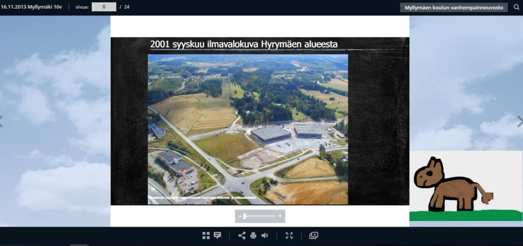 Myllymäen koulu 10v – ilmakuvia 2001 – 2013 alueesta