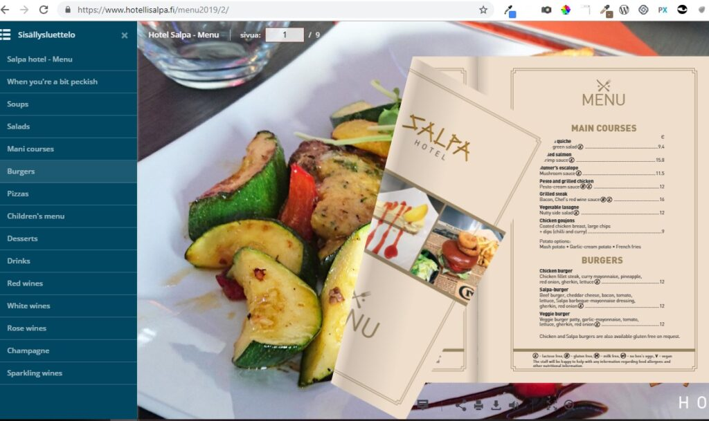 Hotel Salpa – Summer 2019 menu