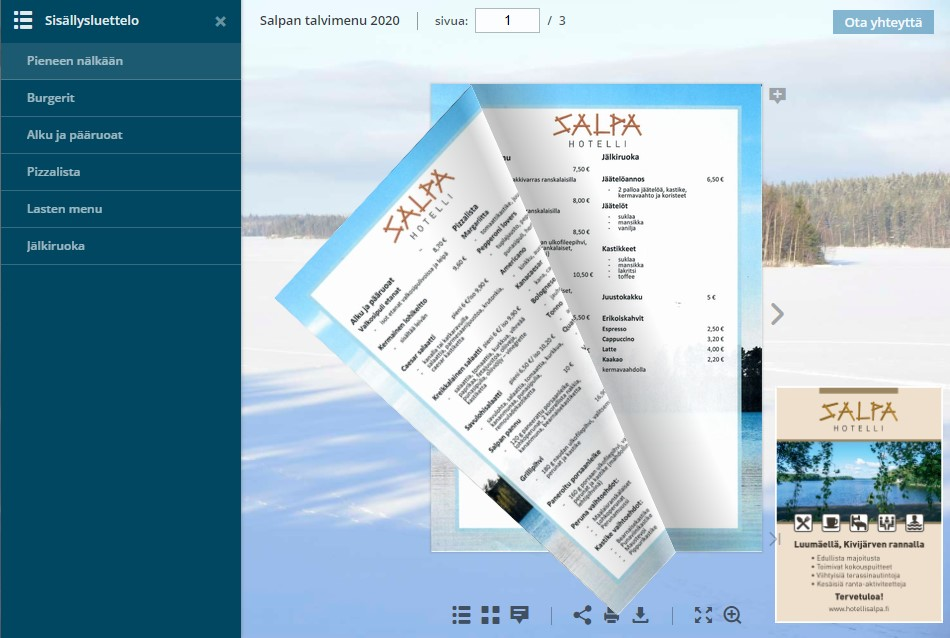 Hotelli Salpan talvimenu 2020