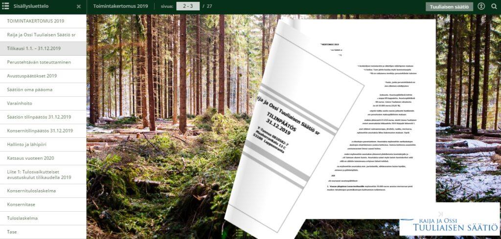 Tuuliaisen Säätiön vuosikertomus 2019
