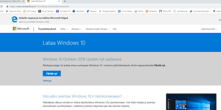 Windows 10:n päivitys lokakuu 2020 saatavilla